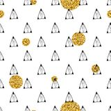 Triangles and golden circles, sequins. Seamless pattern. Geometric, abstract background. Doodle shapes. Triangles and golden circles, sequins. Seamless pattern Stock Photos