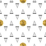 Triangles and golden circles, sequins. Seamless pattern. Geometric, abstract background. Doodle shapes. Triangles and golden circles, sequins. Seamless pattern Royalty Free Stock Photos