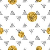 Triangles and golden circles, sequins. Seamless pattern. Geometric, abstract background. Doodle shapes. Triangles and golden circles, sequins. Seamless pattern Stock Image