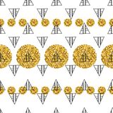 Triangles and golden circles, sequins. Seamless pattern. Geometric, abstract background. Doodle shapes. Triangles and golden circles, sequins. Seamless pattern Royalty Free Stock Photography