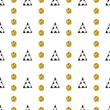 Triangles and golden circles, sequins. Seamless pattern. Geometric, abstract background. Doodle shapes. Triangles and golden circles, sequins. Seamless pattern royalty free illustration