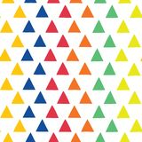 Triangles hand-drawn vector seamless pattern. Geometric shape pattern. Scattered triangles in blue, orange, red, green, and yellow stock illustration
