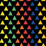 Triangles vector seamless pattern. Rainbow triangles. Geometric shape pattern. Hand drawn scattered triangles in blue, orange, red royalty free illustration