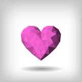 Triangles heart isolated. Poligonal pink heart Royalty Free Stock Image