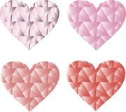 Triangles, hearts, pink and red on a white background, gradient, design elements Royalty Free Stock Images
