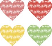 Triangles hearts, pink, red, yellow and green on a white background, gradient, design elements Royalty Free Stock Photo