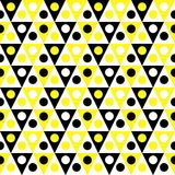 Triangles hive pattern seamless background. Yellow and black triangles and dots texture pattern. Seamless abstract bee hive background Stock Photography