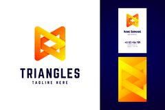 Triangles logo and business card template. Vector logotype in mo. Dern gradient style stock illustration