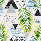 Triangles with palm tree leaves, doodle, marble, grunge textures, geometric shapes in 80s, 90s minimal style. Stock Image