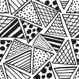Triangles pattern with ink doodles Royalty Free Stock Photo