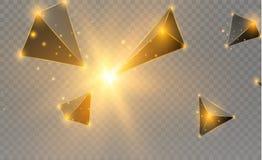 Triangles réalistes et effets de la lumière lames du vert de la centrale de l'effet 3d… mouvement des triangles de vol Illustrati Photos stock