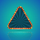 Triangles retro light banner with light bulbs on the contour. Stock Images