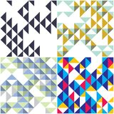Triangles and rhombs geometric abstract trendy seamless patterns. Set, colorful  funky backgrounds collection. Usable for fabric, wallpaper, wrapping, web and Royalty Free Stock Photos