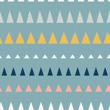 Triangles in a row seamless vector pattern. Abstract background hand drawn lined up triangles. Geometric design in teal, blue, stock illustration