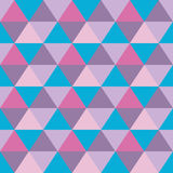 Triangles seamless geometric pattern. Seamless geometric pattern of triangles in pink, blue and violet Royalty Free Stock Images
