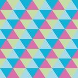 Triangles seamless geometric pattern. Seamless geometric pattern of triangles in pink, green and blue Royalty Free Stock Photo