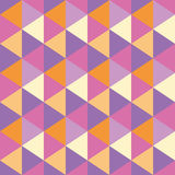 Triangles seamless geometric pattern. Seamless geometric pattern of triangles in pink, violet and orange Royalty Free Stock Photos