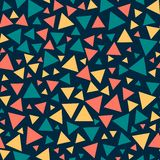 Colored seamless triangles, dark blue background. stock illustration