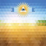 Triangles sky and sun. Abstract geometric background of the triangles. Bright colors. The illusion of solar landscape. Place your own text on top of the image Royalty Free Stock Photos