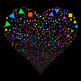 Triangles And Squares Fireworks Heart. Triangles And Squares fireworks with heart shape. Vector illustration style is flat bright multicolored iconic symbols on Stock Image