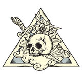 TriangleTattoo. Vector Illustration of Skull and knife on triangle Stock Photography