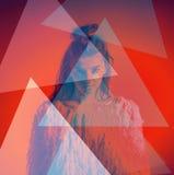 Triangoli di colore dell'estratto del ritratto di modo di arte sopra Immagini Stock Libere da Diritti