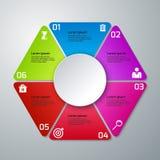Triangoli di infographics dell'illustrazione di vettore, sei opzioni Fotografia Stock Libera da Diritti