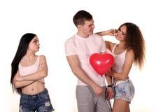 Triangolo amoroso Uomo e due donne Fotografia Stock Libera da Diritti