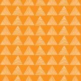Triangolo bianco senza cuciture disegnato a mano un modello su fondo arancio Struttura astratta geometrica Illustrazione di vetto Immagine Stock