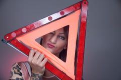 Triangolo d'avvertimento fotografia stock