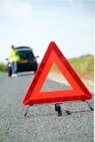 Triangolo d'avvertimento rosso Immagini Stock