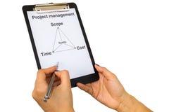 Triangolo della gestione di progetti con la penna fotografia stock libera da diritti