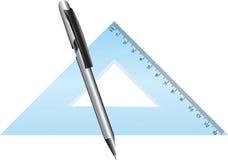 Triangolo e matita Fotografie Stock