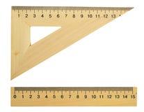 Triangolo e riga di legno Fotografia Stock Libera da Diritti