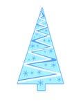 Triangulär blå julgran med snöflingor Royaltyfri Fotografi
