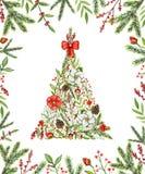 Triangulär julgran för vattenfärg med blommor, bär, kli royaltyfri illustrationer