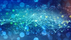 Triangulär techbakgrund med anslutningar, internetuppkopplingteknologibakgrund royaltyfria foton