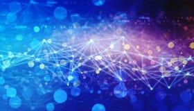 Triangulär techbakgrund med anslutningar, internetuppkopplingteknologibakgrund arkivfoto