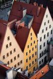Triangulära bästa historiska hus i Wroclaw Arkivbilder