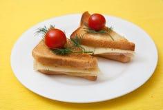 Triangulärt rostat bröd med körsbärsröda tomater Arkivbilder