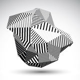 Triangular abstract 3D illustration, vector digital eps8 striped. Complicated object isolated on white background vector illustration