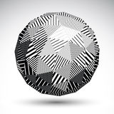 Triangular abstract dimensional striped sphere, vector digital e Royalty Free Stock Photos