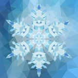 Triangular abstract geometric snowflake over triangular background. Triangular abstract geometric snowflake over triangular winter background Royalty Free Stock Photography
