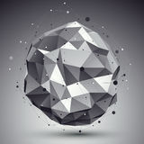 Triangular abstract grayscale 3D illustration, vector digital Royalty Free Stock Image