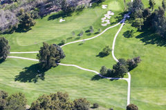 Triangular aerial view of Ojai Valley Inn Country Club Golf Course in Ventura County, Ojai, CA Royalty Free Stock Photography