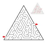 Triangular black labyrinth on white background. Children maze. Game for kids. Children puzzle. Help find a way out. royalty free illustration