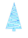 Triangular blue Christmas tree with snowflakes Royalty Free Stock Photography