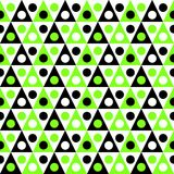 Triangular camping tents seamless texture. Seamless abstract green and black triangular tents with balls background. Abstract geometric texture pattern Royalty Free Stock Images
