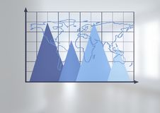 Triangular chart grid with world map with bright background. Digital composite of Triangular chart grid with world map with bright background Royalty Free Stock Photo