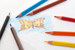 Triangular color pencils royalty free stock images